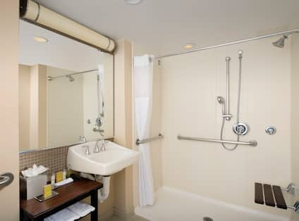 ADA Accessible Guest Bathroom with Roll-In Shower