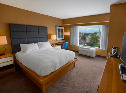 Guestroom with King Bed, Work Desk and Outside View