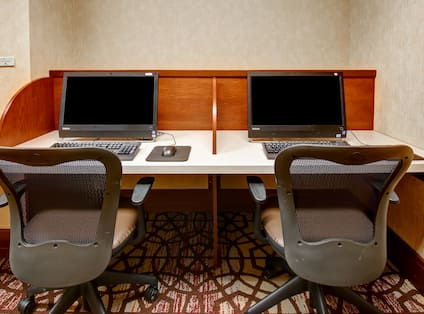 Business center with computers