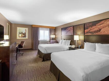 Guestroom with Queen Beds, Room Technology, Work Desk, and Lounge Area