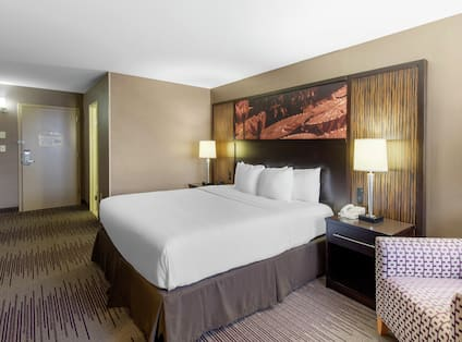 King-Sized Guestroom with Lounge Area and Room Technology
