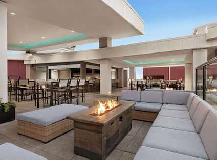 Rooftop Bar and Lounge Area with Fire Pit
