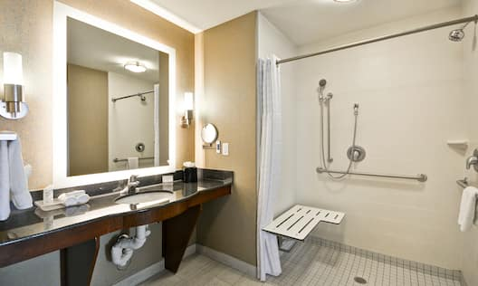 Accessible Bathroom with Vanity, Mirror and Roll In Shower
