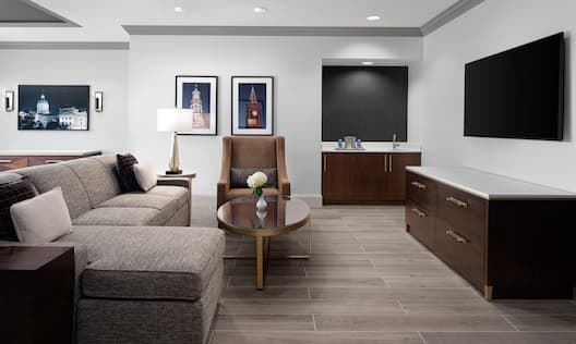 Lounge area with TV