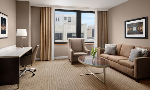 Suite Living Room with Desk Area