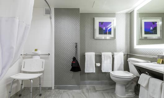 an accessible bathroom with a roll-in shower, shower seat and grab bars
