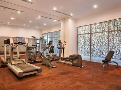 Fitness Center With Weight Bench and Cardio Equipment