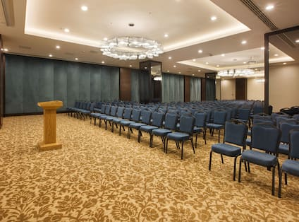 Rosa Conference Room Arranged Theater Style With Rows of Blue Chairs Facing Podium