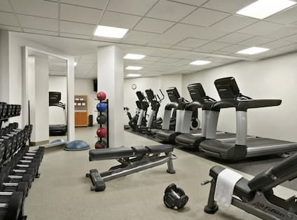 Fitness Center with Treadmills, Dumbbells, and Mirrors