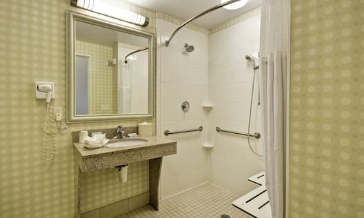 Accessible Guest Bathroom with Roll-In Shower and Bench
