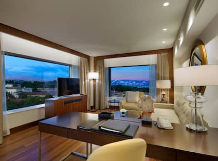 Grand Deluxe Bosphorus Suite Desk and Lounge Area