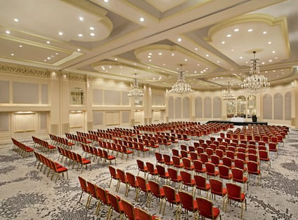 Angle View of Large Ballroom Set up Theather Style