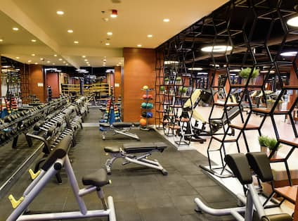 a fitness center with exercise equipment