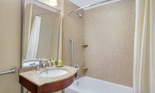 Accessible Guest Bathroom Vanity and Tub