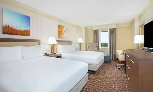 Executive Guest Room with Two Queen Beds, Television and Work Desk