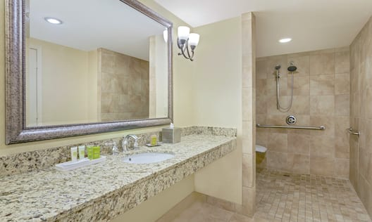 Accessible Suite Bathroom Vanity with Amenities and Roll-in Shower