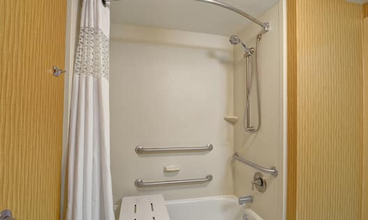 Guest Bathroom with Accessible Tub, Bench and Handrails