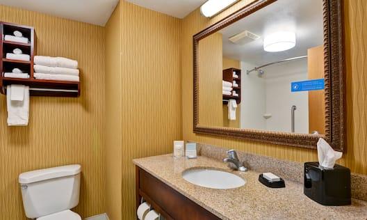 Guest Bathroom Vanity, Toilet and Towel Shelf