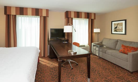 Studio Suite With a King Bed, Two Windows With Long Drapes, TV, Work Desk, and Sofabed