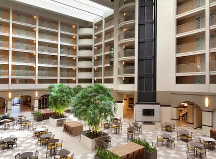 Overview of Atrium Seating, Elevator Bay and Guest Room Balconies