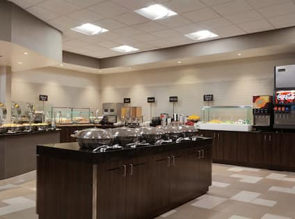 Hot and Cold Buffet Selections on Counters of Breakfast Service Area