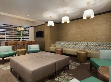 Comfortable Seating Area and TV in Lobby