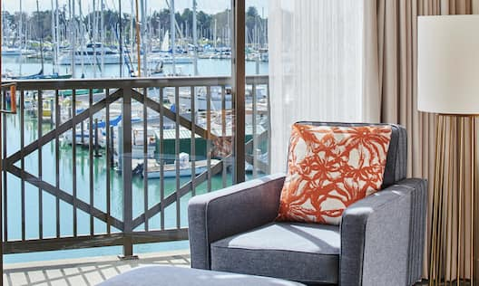 King Guest Room, Sitting Area, Patio, Marina Views