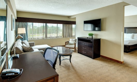 Suite with Work Desk, Lounge Area, and TV