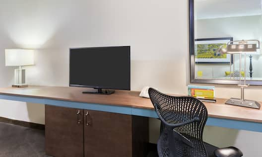 Work Desk with Light, Mirror, TV and Cabinet