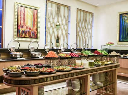 Breakfast area with food options