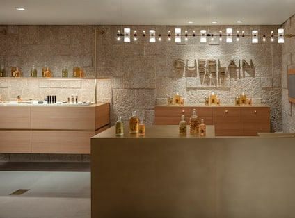 reception desk with spa products
