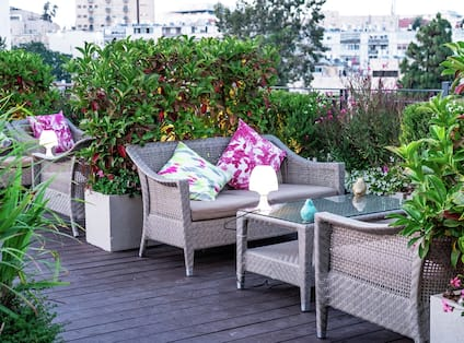 Garden Terrace seating surrounded by plants