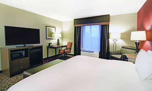 Accessible Guestroom with King Bed, Television, Mini Fridge, Microwave and Work Desk