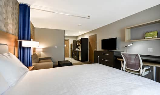 Side View of Studio Suite with King Bed and Sofabed