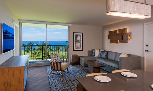 Suite Living Area with Lounge Seating, Television, Outside View and Balcony
