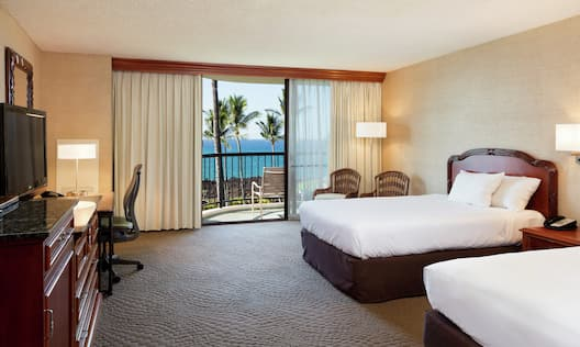 Suite with Two Queen Beds, Lounge Area, Outside View, Work Desk, and Room Technology