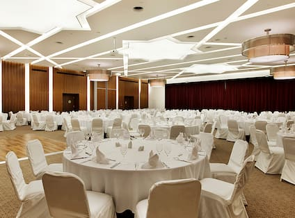 Ballroom with Round Tables and Chairs