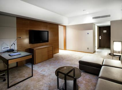 Suite Living Area with Lounge Furniture, TV, and Work Desk