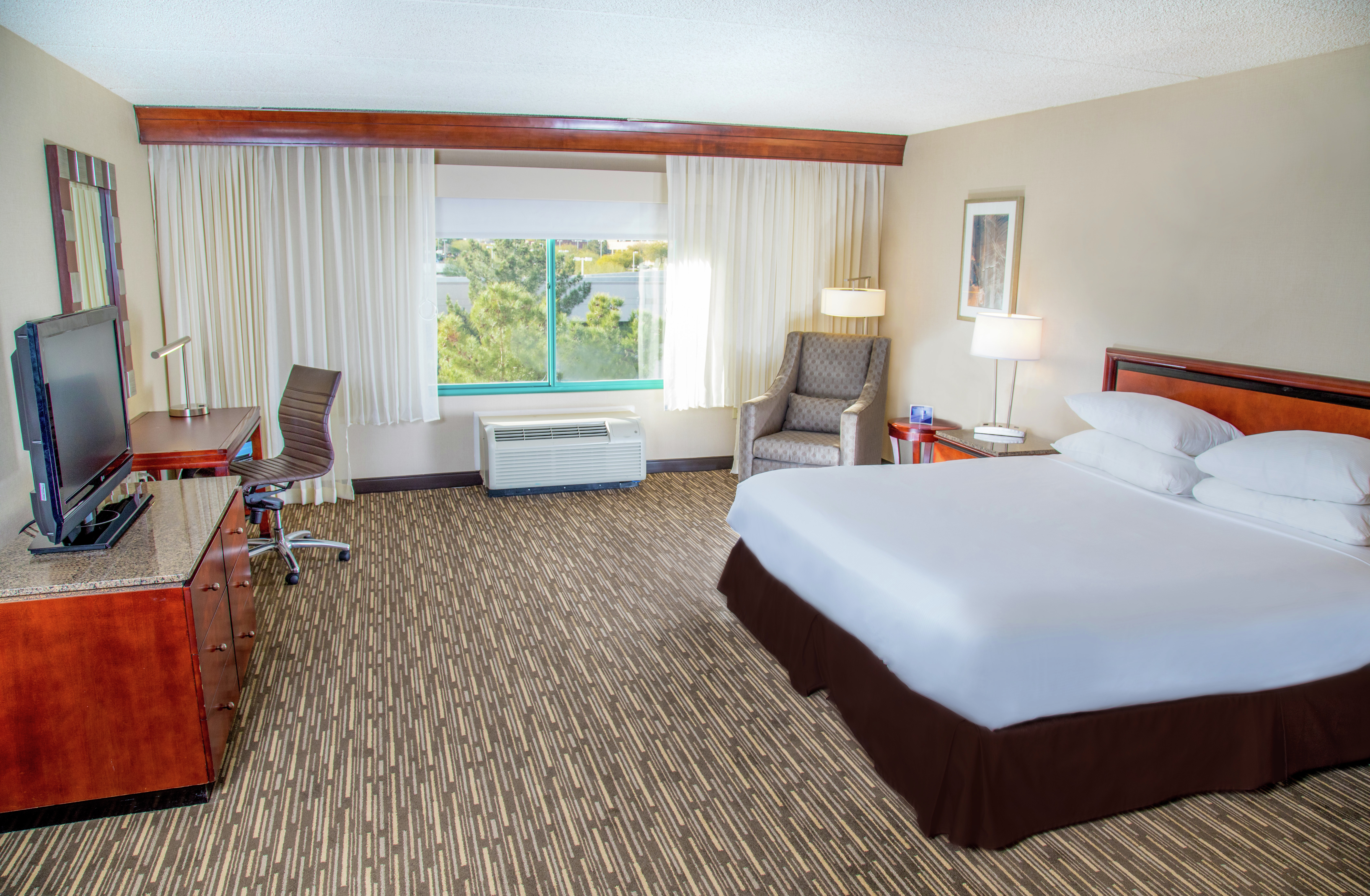 Accessible Guest Room with King Bed, Work Desk and Television