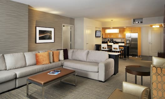 Suite Lounge Area, Kitchenette, and Dining Area