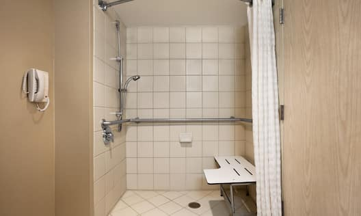 Accessible King Suite w/ Roll-In Shower Bathroom