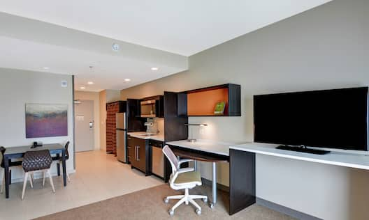Suite Entryway and Kitchen Area