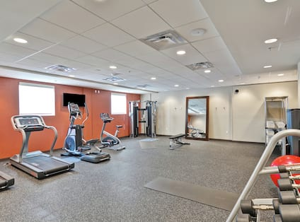 Fitness Center Cardio and Free Weight Equipment