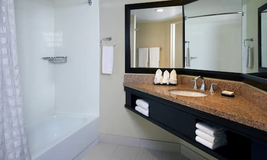 Guest Bathroom with Vanity, Mirror, Shower and Tub
