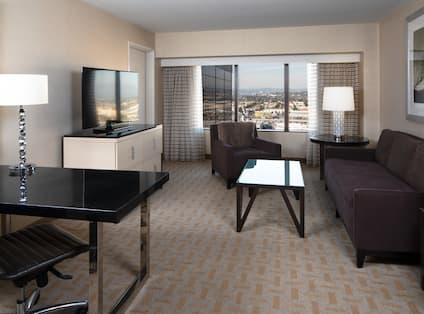 Suite Living Area, Outside View, and Work Desk