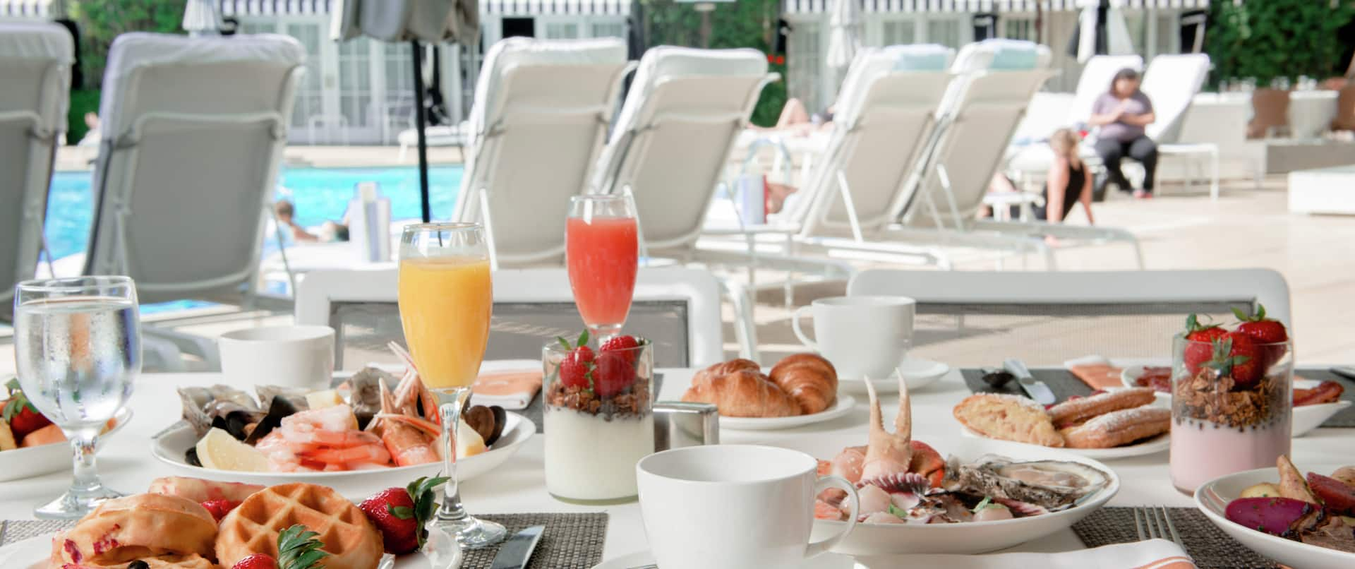 Full breakfast by pool area