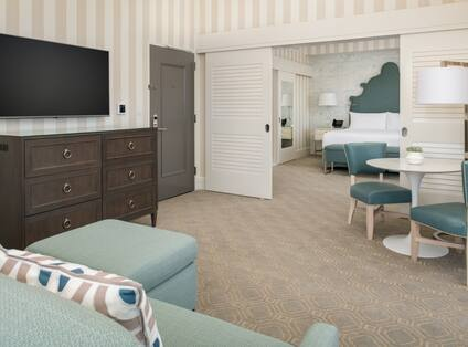 Living area in suite with TV