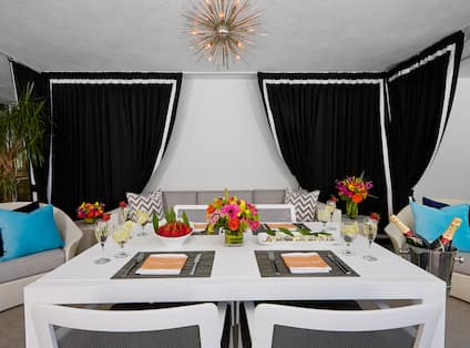 VIP Cabana Dining Table and Lounge Seating