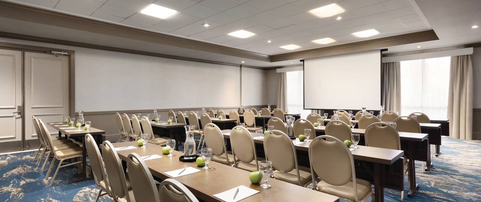 Meeting Room Classroom Setup with Projector Screen