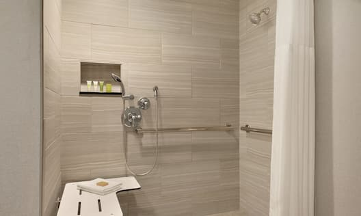Bathroom with roll-in shower and handrails
